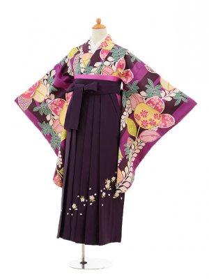小学生卒業式袴レンタル(女の子)9238 紫地橘×パープル袴