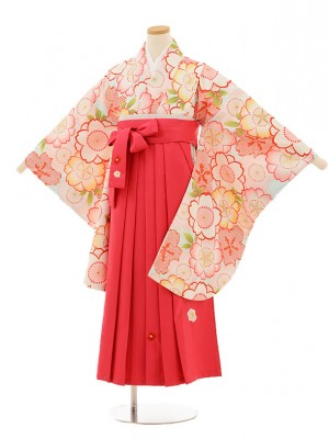 小学生卒業式袴レンタル(女の子)9513 水色桜×ピンク袴