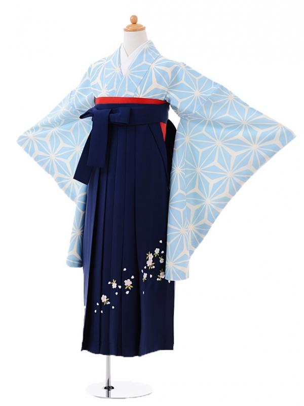 小学生卒業式袴レンタル(女の子)9386水色麻の葉×紺袴