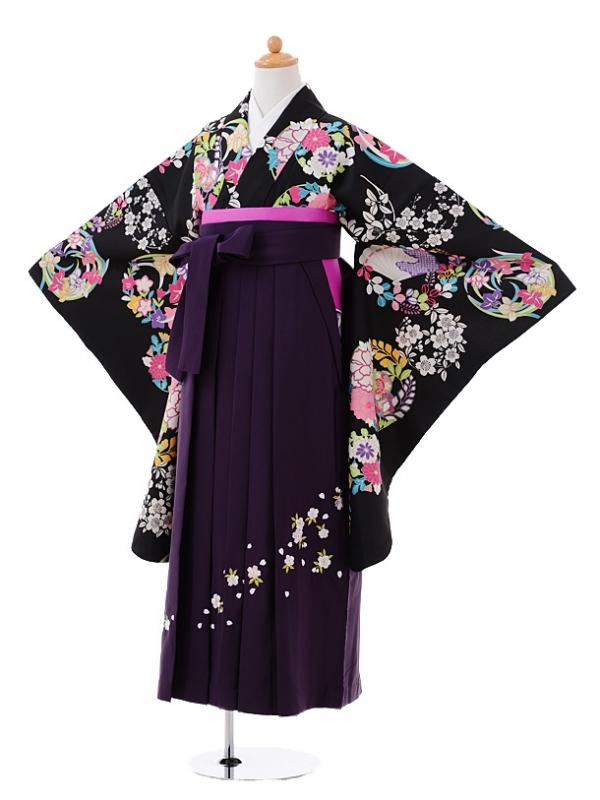 小学生卒業式袴レンタル(女の子)9382黒地花丸×パープル袴