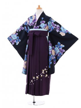 小学生卒業式袴女児9284 黒地水色花×パープ
