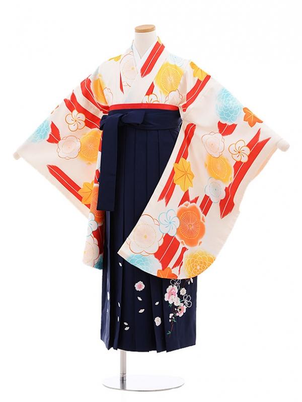 小学生卒業式袴レンタル(女の子)9603クリーム地矢柄梅×紺袴
