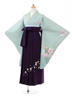 小学生卒業式袴レンタル(女の子)9376 グリーン梅×紫袴