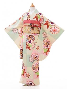 ジュニア着物jh9426クリーム色 菊ねじり梅