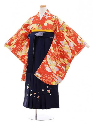 小学校卒業式袴レンタル(女の子)9838赤古典柄×紺袴