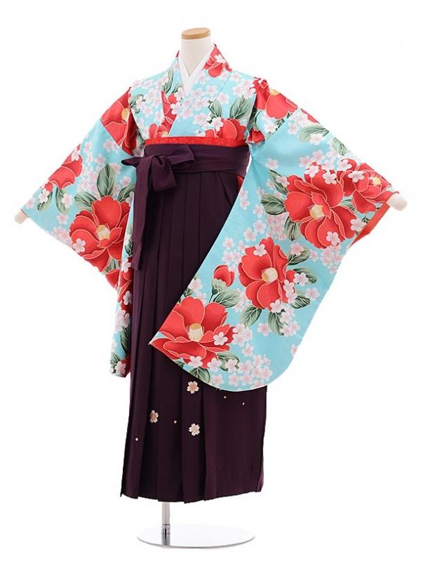 小学生卒業式袴レンタル(女の子)9648水色椿×パープル丸桜袴