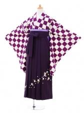 小学生卒業式袴女児9286 紫市松×パープル袴