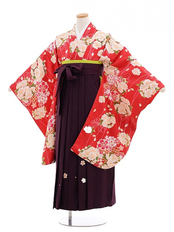 小学生卒業式袴レンタル(女の子)9651赤地薬玉×パープル丸桜袴