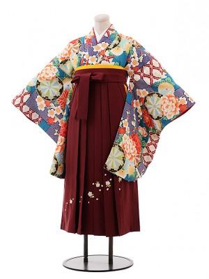 小学生 卒業式 袴 女児 9950 ひいな ターコイズ 花×エンジ桜袴