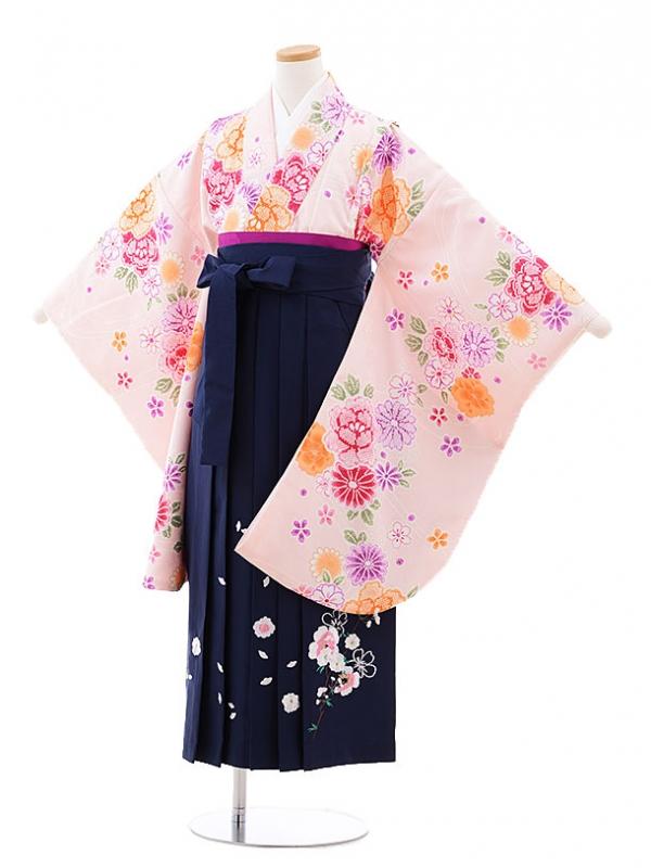 小学生卒業式袴レンタル(女の子)9726 ピンク花×紺袴
