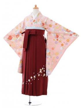 小学生卒業式袴女児9396ピンク地扇に花×エンジ