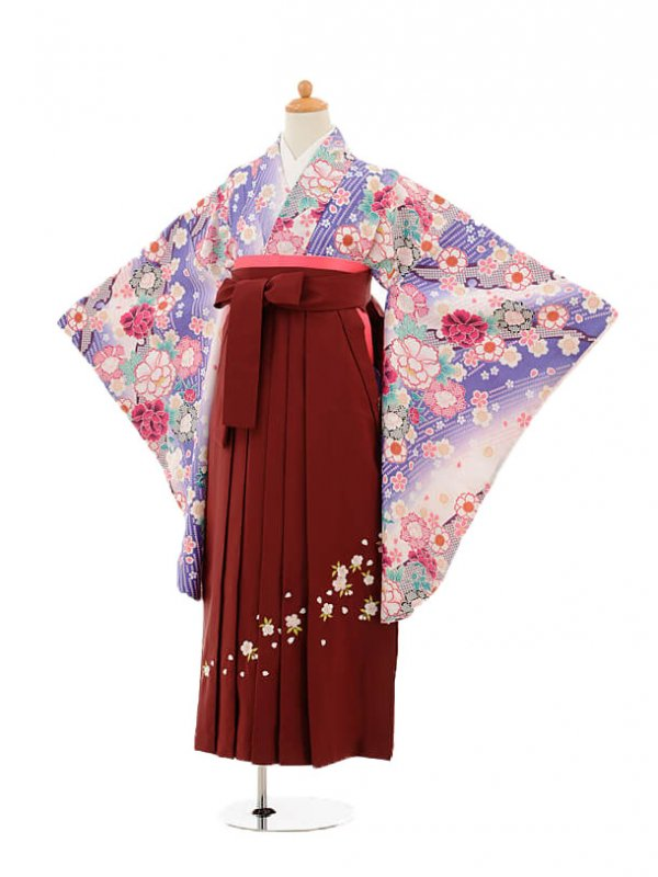 小学生卒業式袴女児9169 白うす紫ぼかし花