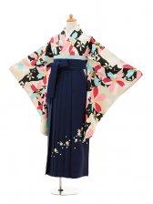小学生卒業式袴女児9230 ベージュ黒猫と桜×