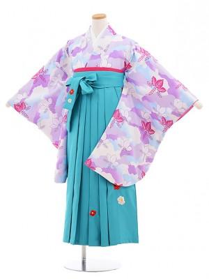 小学生卒業式袴レンタル(女の子)9589ひさかたろまんスミレ色桐×ターコイズ袴