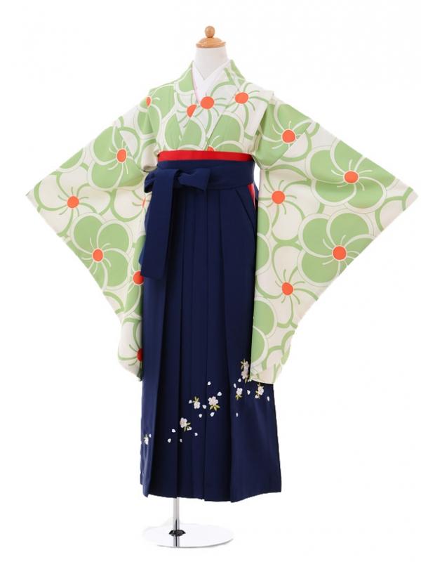 小学生卒業式袴女児9316 クリーム色グリーン梅×紺