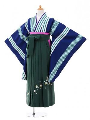 小学生卒業式袴レンタル(女の子)9308 紺ストライプ×グリーン袴