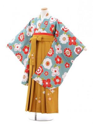 小学生卒業式袴レンタル(女の子)9761 グレーグリーン花×金茶袴