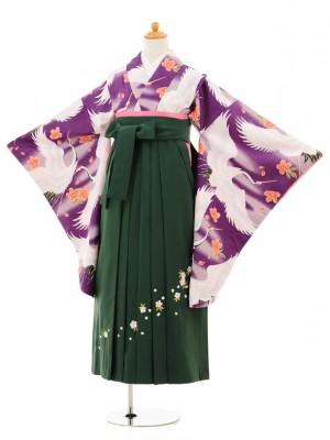 小学生卒業式袴レンタル(女の子)9195 紫地桜鶴×グリーン袴