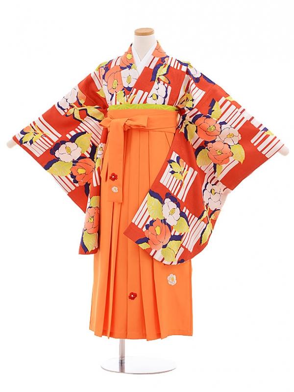 小学生卒業式袴レンタル(女の子)9551ひさかたろまん赤椿×オレンジ袴