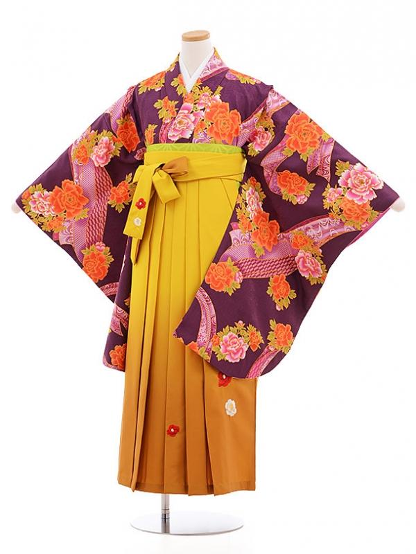 小学生卒業式袴レンタル(女の子)9574紫ぼたん×からし色袴