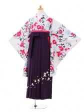 小学生卒業式袴女児9290 白地蘭の花×パープ
