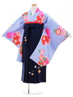 小学生 卒業式 袴レンタル(女の子)9559ブルー雪輪×紺袴