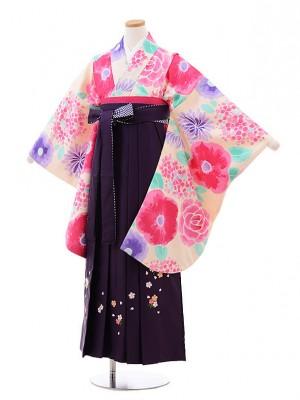 小学校卒業式袴レンタル(女の子)9876淡ピンク花×パープル袴
