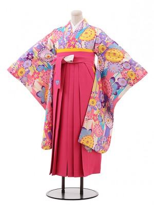 小学生卒業式袴 女児9906 SISTER JENNI ピンク 花×ピンク袴