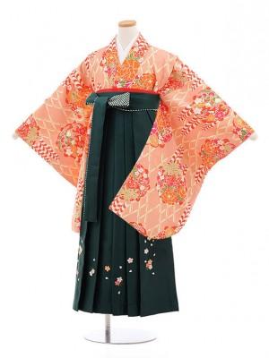 小学校卒業式袴レンタル(女の子)9857サーモンピンク×グリーン袴