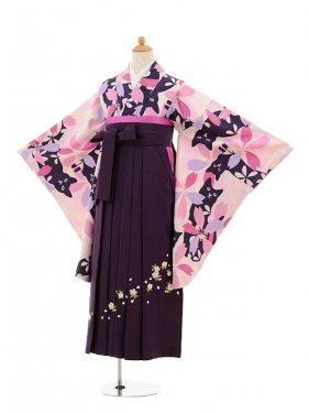 小学生卒業式袴女児9151 ピンク地桜と猫×パー