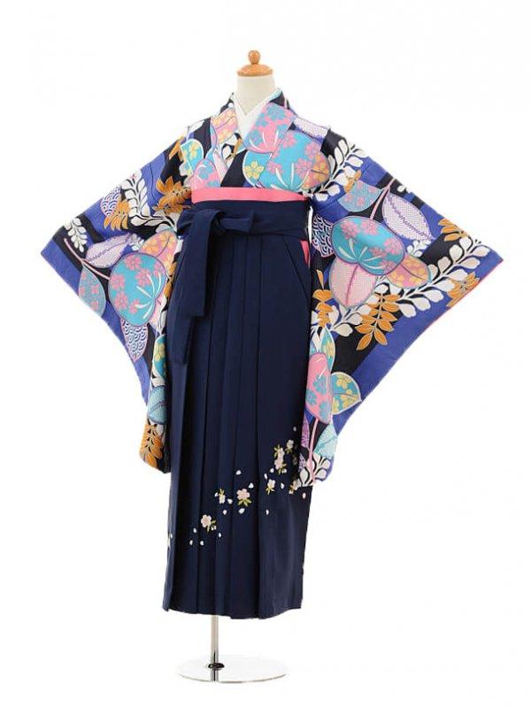 小学生卒業式袴レンタル(女の子)9140 青紫橘×紺袴