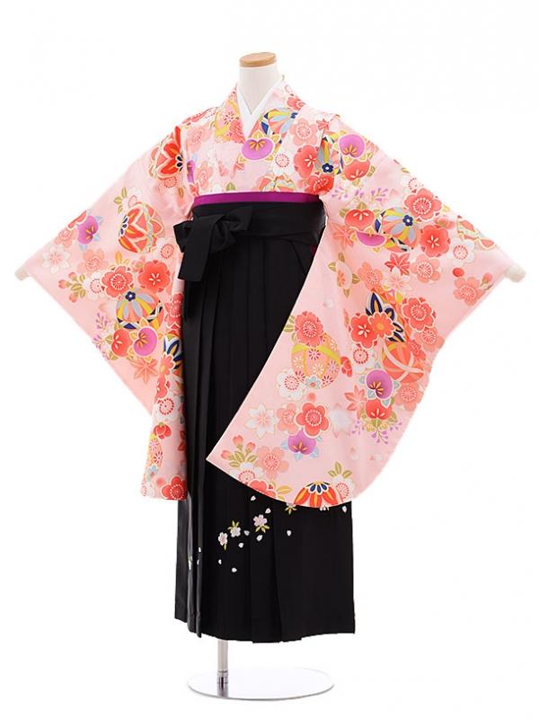 小学生卒業式袴レンタル(女の子)9668ピンクまり花×黒袴