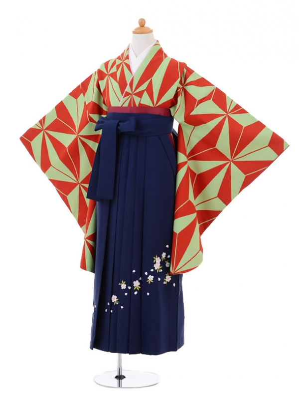 小学生卒業式袴女児9259 緑赤麻の葉×紺袴