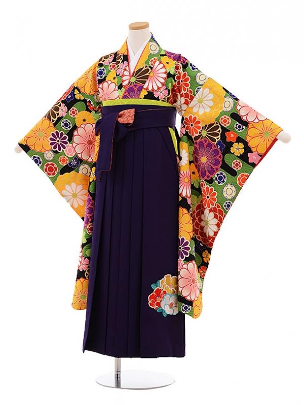 小学生卒業式袴レンタル9496九重黒地古典菊×パープル袴