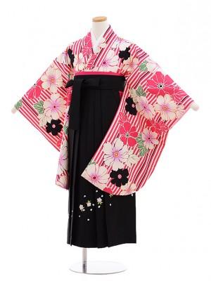 小学生 卒業式 袴レンタル(女の子)9596ピンクストライプ花×黒袴