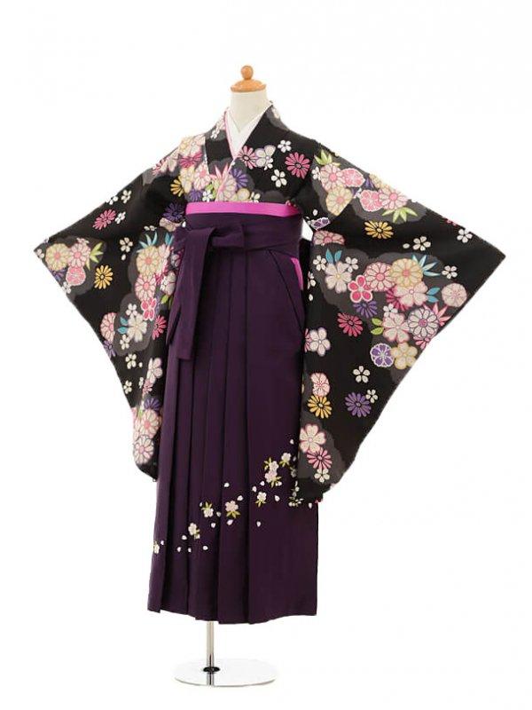 小学生卒業式袴レンタル(女の子)9178 黒地グレー雲取り花