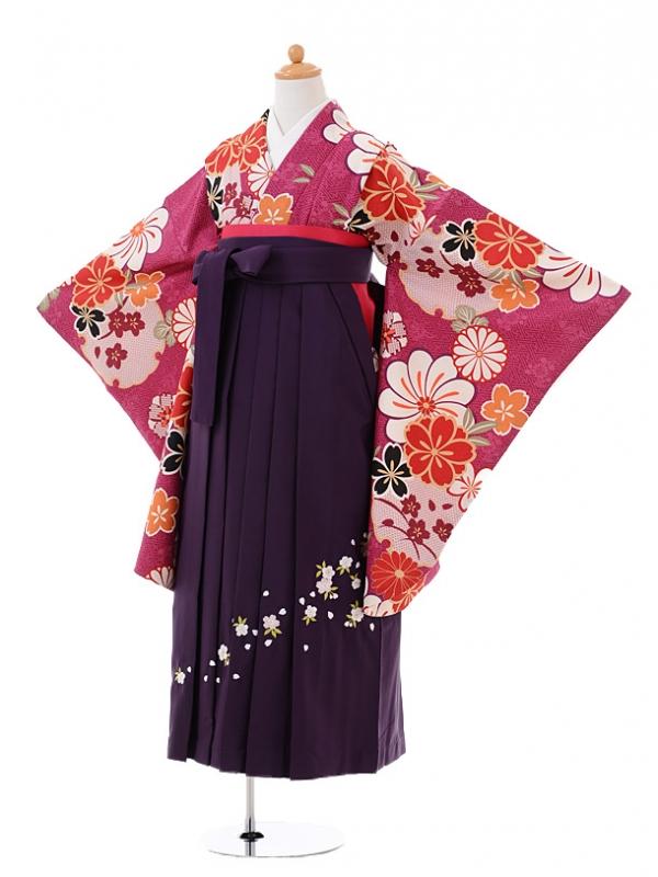 小学生卒業式袴レンタル(女の子)9407紫地古典花×パープル