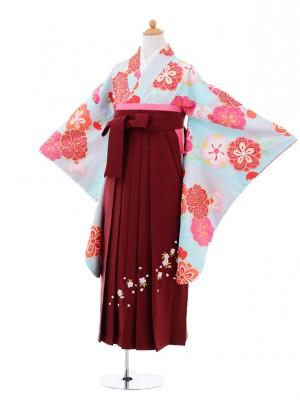 小学生卒業式袴レンタル(女の子)9346 水色梅桜×エンジ袴