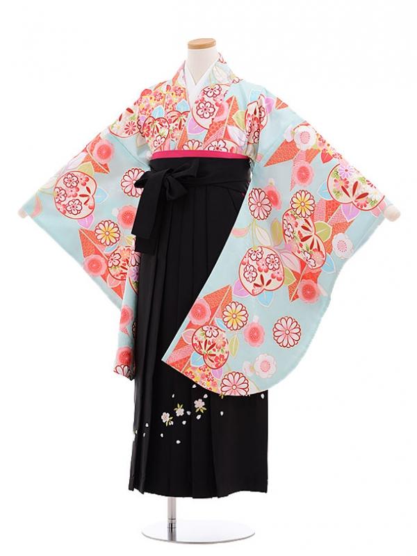 小学生卒業式袴レンタル(女の子)9624水色矢柄桜橘×黒袴