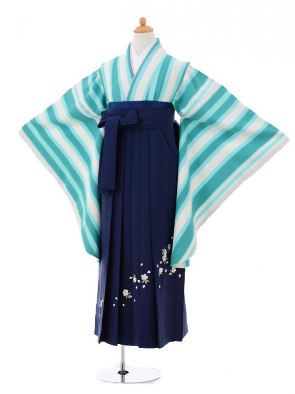 小学生卒業式袴レンタル(女の子)9323 グリーンストライプ×紺袴