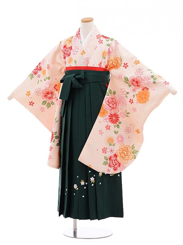 小学生卒業式袴レンタル(女の子)9671ライトピンク花×グリーン袴