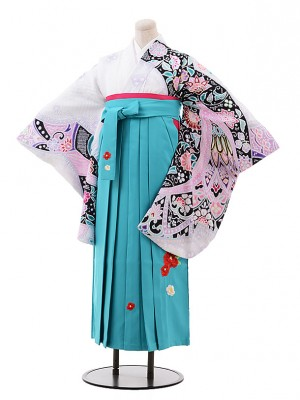 小学生 卒業式 袴 女の子 9976 白地 絞り×ターコイズ袴