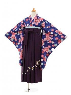 小学生卒業式袴女児9181 紺地菊藤×パープル