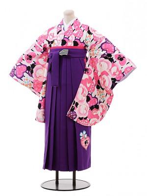 小学生 卒業式 袴 女児 9934 Barbie 白地 バラ×パープル袴