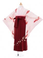 小学生卒業式袴女児9302 ピンク矢絣×エンジ袴