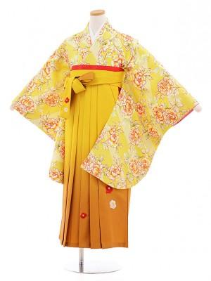 小学生卒業式袴レンタル(女の子)9563ひさかたろまん黄色ぼたん×からし色袴