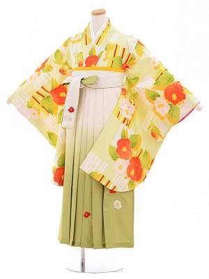 小学生卒業式袴レンタル(女の子)9549黄緑椿×クリーム袴