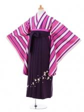 小学生卒業式袴女児9292 ピンク紫ストライプ×パー