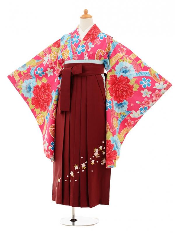 小学生卒業式袴レンタル(女の子)9202 ピンクリボン×エンジ袴