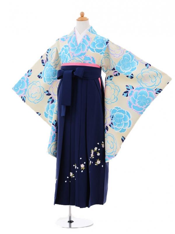 小学生卒業式袴レンタル(女の子)9315 ベージュ牡丹×紺袴